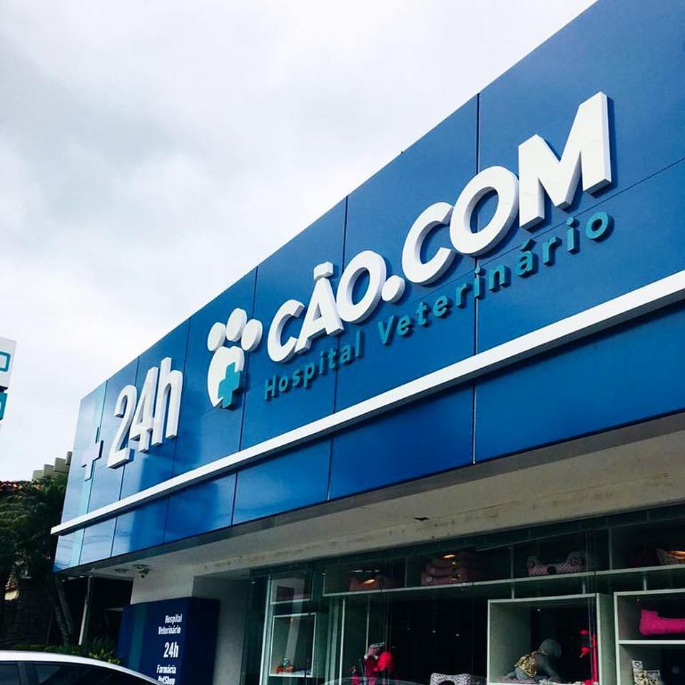 Fachada em ACM Azul veterinario