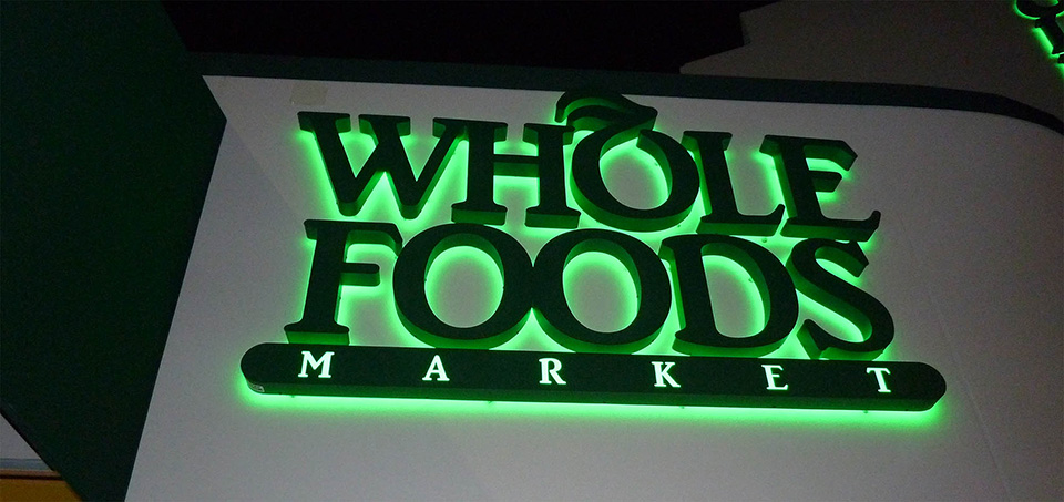 Letreiro de Led Whole Food Market
